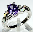 Amethyst & White Fire Opal Inlay 925 Sterling Silver Ring size 8, 8.75, or 9