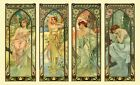 TIMES OF THE DAY ALPHONSE MUCHA LOVELY ART NOUVEAU 4 PANEL POSTER  A3 RE PRINT