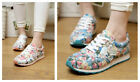 HOT New Women Running Outdoor Floral Shoes Breathable Canvas Flat Sneaker Shoes
