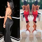 Womens Sexy One Shoulder Backless Frill Mermaid Bodycon Evening Beach Long Dress