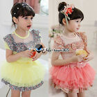 Summer Baby Girls Child Kids Floral Edge T-shirt Top +Tutu Dress Party Sets 2-7Y