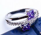 MODERN! Faceted Amethyst & Russian CZ .925 Sterling Silver Ring Sizes 6-9