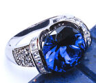 HOLIDAY COCKTAIL Sapphire & Russian CZ .925 Sterling Silver Ring Sizes 5-9