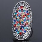 Austrian Crystal Oval Ring LADY's Ring Adjustable Size (#6.5-#8)