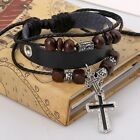 Retro Cuff Style Multilayer PU Leather Beaded Wrap Charms Bracelet Chain Bangle