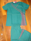 #3026 Style Women Nursing Uniforms Medical Scrubs Set Hunter Green / Pewter Grey