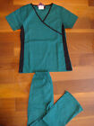 4018 Stylish Wrap Knit Nursing Scrubs Set Nurse Medical Uniform Set Hunter Green