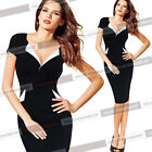 Women Vintage Floral Tunic Lapel Cocktail Party Evening Bodycon Wiggle Dress 378