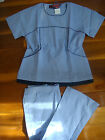 #4007 Hospital Scrub Set Top Flare Pant Medical Nursing Uniform Ceil Blue / Navy