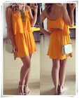 Summer Fashion Women Chiffon Skirt Loose Sleeveless Shirt Beach Casual Dress Set