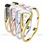 Women Triangle Analog Crystal Rhinestone Quartz Bracelet Bangle Cuff Wrist Watch