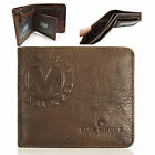 New Men's Vintage Genuine Leather Bifold Wallet Zippered Pocket Purse <MW006>
