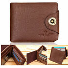 New Men's Vintage Genuine Leather Bifold Wallet Zippered Pocket Purse <MW009>