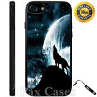 Custom Case iPhone 6S 7 Plus+Galaxy S6 S7 EDGE+STYLUS-Wolf Howling  Bright Moon