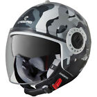 CABERG RIVIERA COMMANDER OPEN FACE MOTORCYCLE BIKE HELMET - BLACK WHITE CAMO