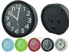 12cm Round Plastic Analog Desk Alarm Clock with Embossed Number Marking