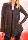 Cardigan Sweater Light Weight Knit Swing Jacket Shrug Metallic Gold Black NEW
