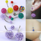 1PC 14G Czech Crystal Gem Belly Navel Button Ring Stud Barbell Stainless Steel