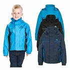 Trespass Mooki Boys Waterproof Jacket Windproof School Rain Coat with Hood