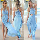 hot Sexy Ladies summer Long Split Chiffon Beach Dress Cocktail Party Size XS~M