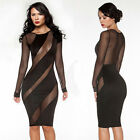 CHEAP FREE SHIP Sexy Women Long Sleeve Cocktail Work Evening Prom Party Dresses