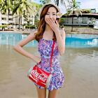 One Piece Floral Ruched Halter Neck Siamese Swimsuit Swimwear Tankini Swim Dress