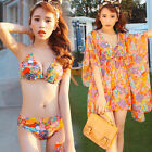 3pcs Bohemian Boho-chic Style Bikini Top Bottom Butterfly Sleeve Cover Up Blouse
