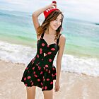 One Piece Red Lip Kiss Cut-Out Skirted Swimsuit Swimwear Tankini Top Swim Dress