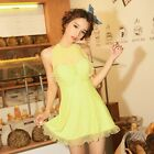 One Piece Lace Splice Bow Skirted Siamese Triangular Piece Swimsuit Swim Dress