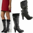 WOMENS LADIES MID HEEL CALF KNEE HIGH ZIP BLACK LEATHER STYLE BOOTS SHOES SIZE