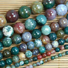 """Natural Indian Agate Gemstone Round Beads 15.5"""" 3mm 4mm 5mm 6mm 8mm 10mm 12mm"""