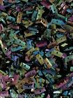 Sequins 8mm Tiny Rectangle Peacock Black Blue Rainbow Mix Choose Pack Size
