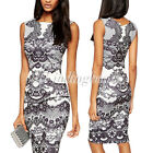 Sexy Sleeveless Contrast Lace Print Knee-Length Party Cocktail Club Midi Dress