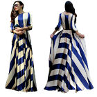 NEW WOMEN STRIPED FULL SWEEP MAXI DRESS WRAP SHEER LONG GOWN CRUISE