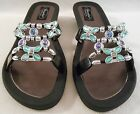GRANDCO SANDALS Beach Pool SLIDE BLING Black GEMSTONE Jeweled DRESSY Flip Flops