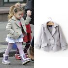 New Girls Baby Double-Breasted Overcoat Outwear Jacket Peacoat Short Suit Coat