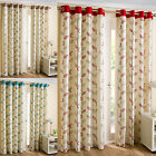 Florida Embroidered Leaf Trail Ring Top Lined Pair Curtains.Modern Eyelet Design