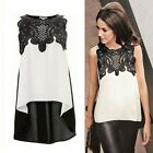 Hot Women/Lady Sexy Sleeveless Crewneck Irregular Chiffon Shirt Tops Blouse LJ