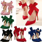 Women Solid Big Bow Pointy Toe Strappy High Heels Bridal Evening Party Shoes New