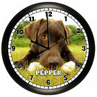 CHOCOLATE LABRADOR WALL CLOCK PERSONALIZED GIFT LAB DOG PET BROWN RETRIEVER