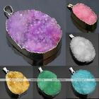 Freeform Natural Druzy Crystal Quartz Cluster Bead Pendant For Chain Necklace
