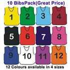 10 FOOTBALL MESH TRAINING SPORTS BIBS NUMBERED (1-10 OR number of your choice)