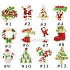 12pcs Christmas Theme Chooses Gold Enamel Rhinestone X'mas Gift Brooches Pins