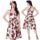 Hell Bunny Rockabilly 50s Swing Rosette Dress Pin Up Floral