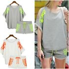 Fashion Women Batwing Sleeve Off-Shoulder Sports Wear Tracksuit Tops+Shorts Suit