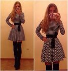 Women VTG Houndstooth High Waist Fit Flare Skater Prom Casual Party Club Dress A