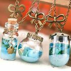 Charm Mermaid Tears Glass Bottle Necklace Perfume Vial Wishing Blue Pendant