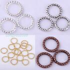 2015 Hot 8mm Tibetan Silver Twist-Ring Charm Link Rings Finding 5 Colors 60 Pcs