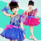 New Girl Sequined One Shoulder Latin Salsa Dancing Dress Kid Party Dance Costume