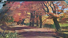 1970's Forest in Autumn leaves tress road vintage new  NOS poster HBX39